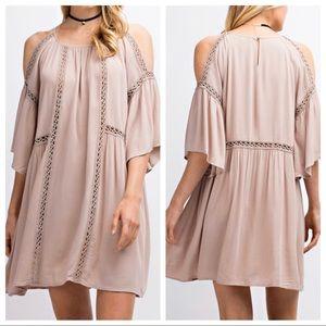 Taupe Cold Shoulder Slit Bell Sleeve Dress